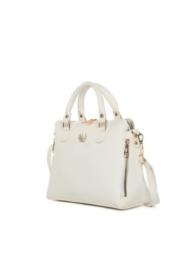 Bagmori Kadın Dik Çift Fermuarlı Askılı Çanta M000005043 Beyaz